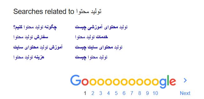 پیشنهادهای گوگل در تولید محتوا
